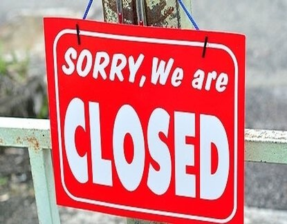 sorry, we are closed door sign