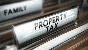 Property tax filing tab close up