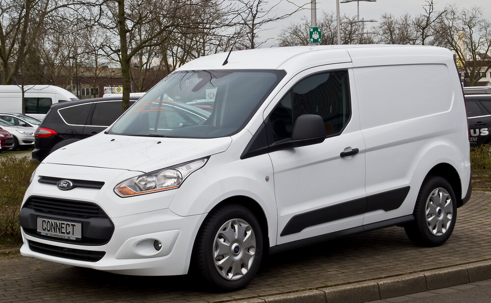A white Ford Transit Connect van